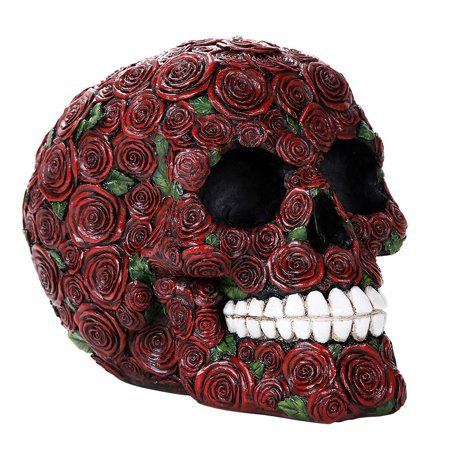 Decorative Ornate Red Roses Flower Skull Figurine Halloween Decor Collectible 4.75 Inches Tall - Walmart.com