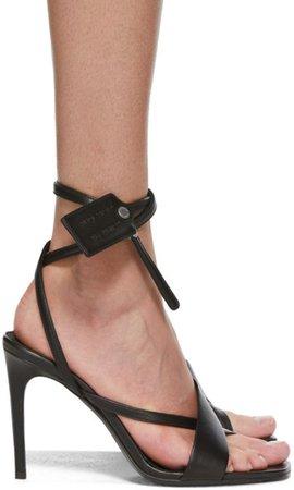 Black Zip-Tie Heeled Sandals