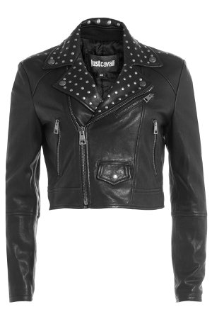 Cropped Leather Jacket with Stud Embellishment Gr. IT 40
