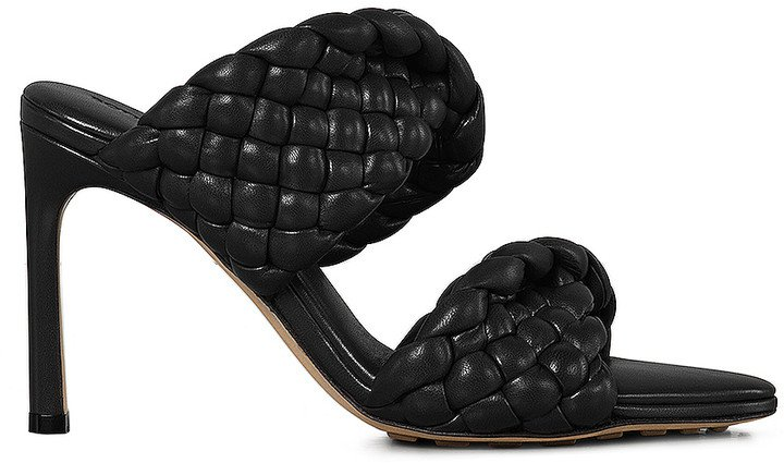 Padded Woven Leather Sandals in Black | FWRD