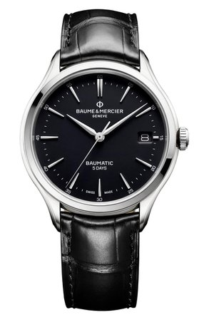 Baume & Mercier Baumatic Automatic Leather Strap Watch, 40mm | Nordstrom