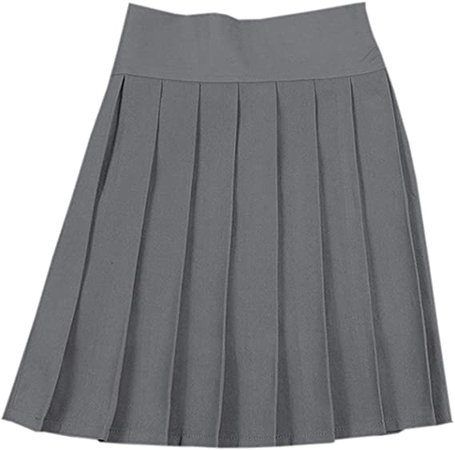 NAWONGSKY Women's Elastic Waist Solid Plain Pleated School Uniform Cosplay Costume Skirt, Grey, Tag L = US M at Amazon Women's Clothing store