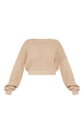 Cream Cropped Fisherman Knit | Knitwear | PrettyLittleThing USA
