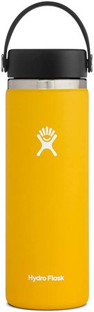 Amazon.com: Hydro Flask Water Bottle - Stainless Steel & Vacuum Insulated - Wide Mouth 2.0 with Leak Proof Flex Cap - 20 oz, Sunflower: Sports & Outdoors