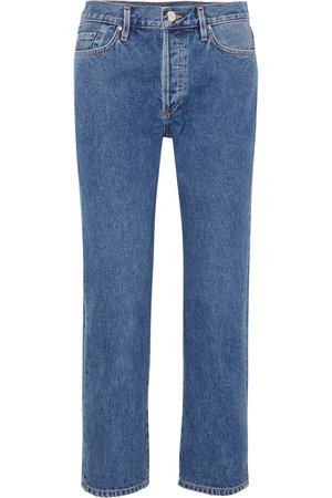 Mid denim The Low Slung cropped mid-rise straight-leg jeans | GOLDSIGN | NET-A-PORTER