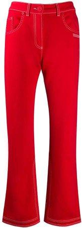 Off White contrast-stitch kick-flare jeans