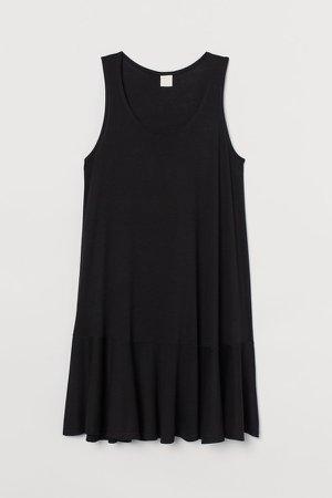 Sleeveless Jersey Dress - Black