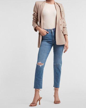 Mid Rise Ripped Raw Hem Slim Jeans