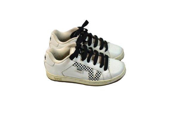 Vintage Sneakers Polka Dot Sneakers Skate Board Sneakers White | Etsy
