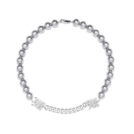 """MISBHV """"M"""" Grey Pearl + Curb Link Necklace"""