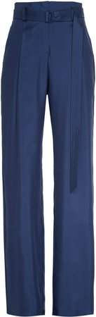 Silky Twill High Waisted Belted Pant