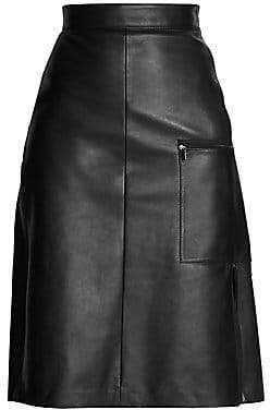 Acne Studios Women's Ligrid A-Line Leather Skirt