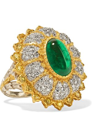 Buccellati | 18-karat yellow and white gold, diamond and emerald ring | NET-A-PORTER.COM