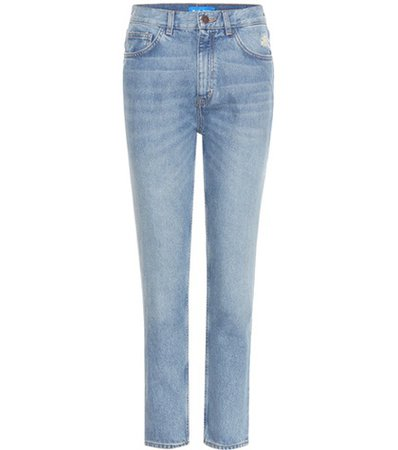 Mimi distressed high-rise slim jeans