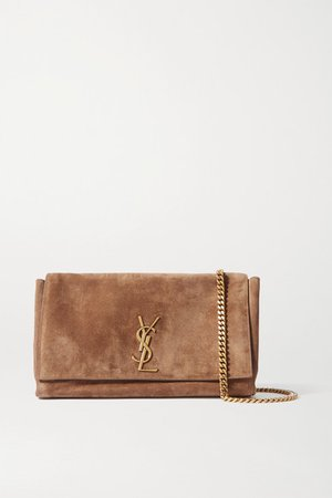 Kate Reversible Leather And Suede Shoulder Bag - Brown