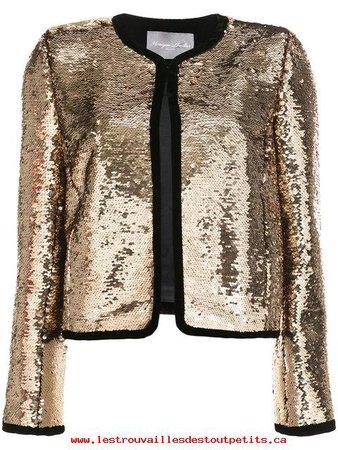Unparalleled Gold Monique Lhuillier Cropped Sequin Jacket - Women's Cropped Jackets Online Sale 17410334