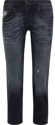 Cropped Distressed Low-rise Straight-leg Jeans