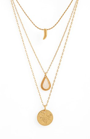 Madewell Engraved Pendant Necklace Set | Nordstrom
