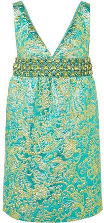 Crystal-embellished Metallic Brocade Mini Dress - Blue