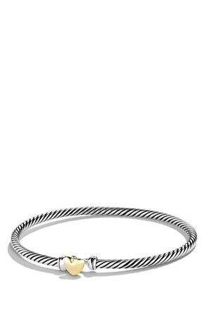 David Yurman Cable Collectibles Heart Bracelet with 18K Gold | Nordstrom