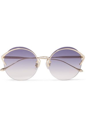 For Art's Sake | Margarita round-frame faux pearl-embellished gold-tone sunglasses | NET-A-PORTER.COM