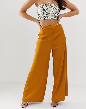 ASOS DESIGN mustard wide leg pants | ASOS