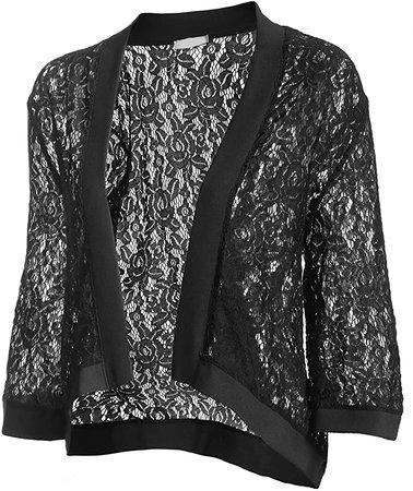 Zeagoo Women's Fashion Crochet Cardigan Kimono Tops 3 4 Sleeve Blouse Black XL at Amazon Women's Clothing store
