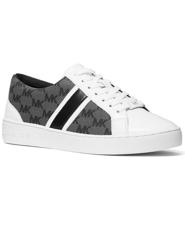 white Michael Kors Monae Signature Logo Lace-Up Sneakers & Reviews - Athletic Shoes & Sneakers - Shoes - Macy's