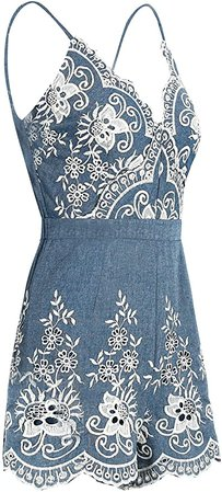 Amazon.com: Simplee Apparel Women's Spaghetti Strap Sleeveless V Neck Emboridered Floral Romper Jumpsuit Playsuit: Clothing