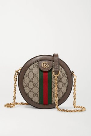 Brown Ophidia mini textured leather-trimmed printed coated-canvas shoulder bag | Gucci | NET-A-PORTER