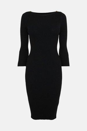 Knitted Rib Rivet Slash Neck Dress | Karen Millen
