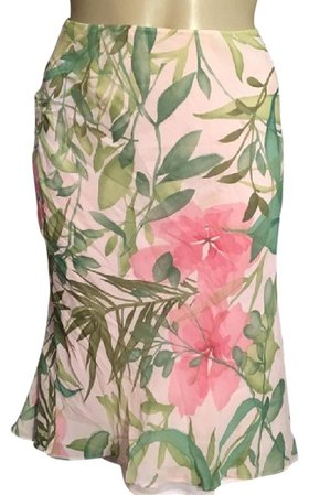Ann Taylor Pink & Green Silk Floral Print Knee-length Skirt Size Petite 6 (S) - Tradesy