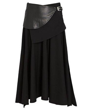 Proenza Schouler Faux Leather Belted Wool Midi Skirt | INTERMIX®