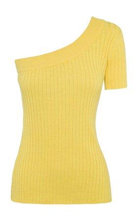 Kiki One-Shoulder Ribbed Cotton Topv by Anna Quan | Moda Operandi