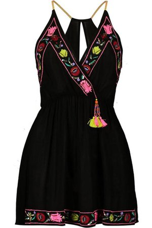 Beaded Embroidered Beach Dress   Boohoo