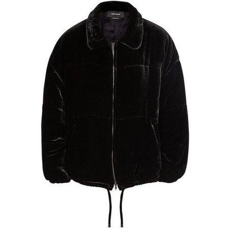 Isabel Marant Telima Black Velvet Bomber Jacket