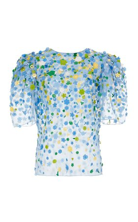 Floral Embroidered Silk-Organza Blouse top