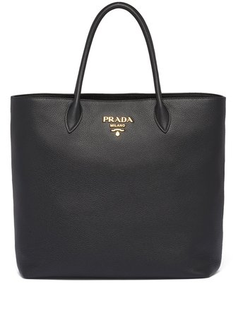 Prada Logo Plaque Tote Bag - Farfetch