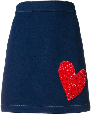 X THE WOOLMARK COMPANY embellished heart skirt