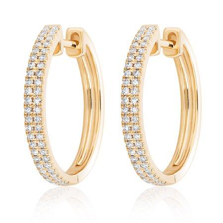 Large Double Row Diamond Hoops – Nicole Rose Fine Jewelry