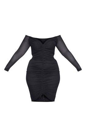 Plus Black Mesh Ruched Bardot Midi Dress | PrettyLittleThing
