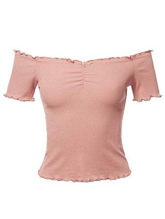 mauve pink off shoulder top