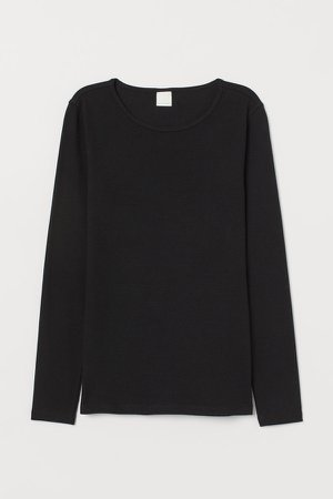 Ribbed Jersey Top - Black