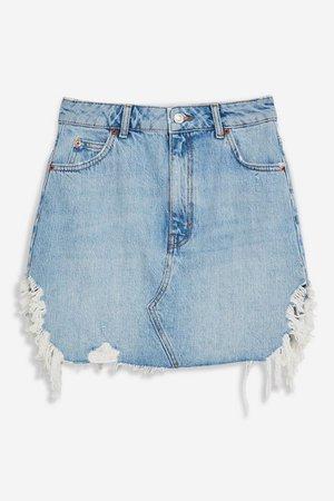 Blue Side Ripped Denim Skirt | Topshop Blue