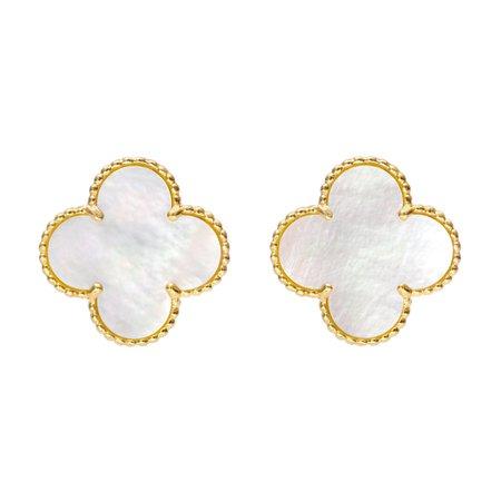 van cleef gold mother of pearl earrings