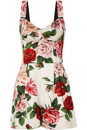Dolce & Gabbana | Combi-short en brocart à imprimé fleuri | NET-A-PORTER.COM