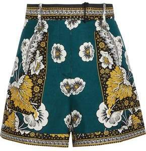 Belted Printed Silk Shorts