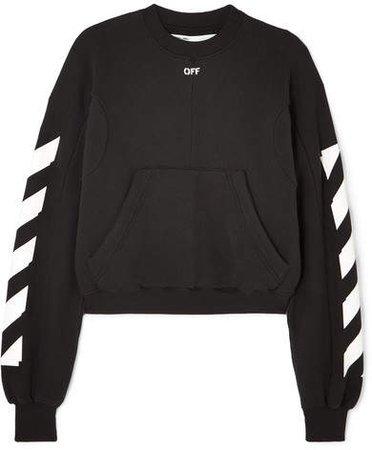 Cropped Printed Cotton-blend Jersey Sweatshirt - Black