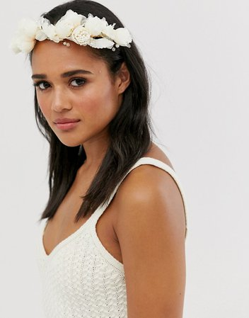 ASOS DESIGN Wedding hair crown with blush and cream flowers and bead embellishment | ASOS