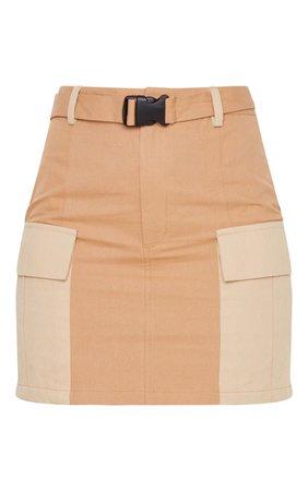 Stone Cargo Pocket Belted Mini Skirt | PrettyLittleThing USA